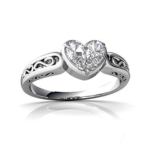14kt White Gold White Topaz and Diamond 5x3mm Pear filligree Heart Ring - Size 9