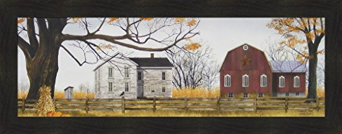 Harvest Time by Billy Jacobs 16x40 Farm House Red Barn Outhouse Corn Stalks Pumpkins Fall Autumn 4 Seasons Folk Art Framed Print Picture -