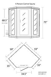 Radiant Saunas BSA1320 4 Person Cedar Corner Infrared Sauna, 3-4
