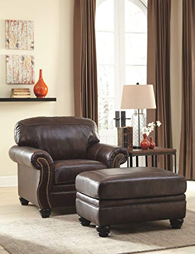 Signature Design by Ashley - BristanTraditional Chair with Nailhead Accents, Antique Walnut