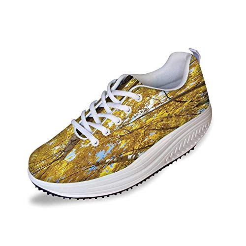 Forest Home Decor Stylish Shake Shoes,Up View of Fall Aspen Tree Leaves in Fade Tone Autumn Season Photo Image for ()
