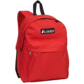 "Everest Luggage Classic Backpack 7 Dimensions 13"" x 6.5"" x 16.5"" (LxWxH) A classic backpack in a streamlined, modern silhouette ideal for school, work, travel and everyday use Spacious main compartment with double zipper closure"