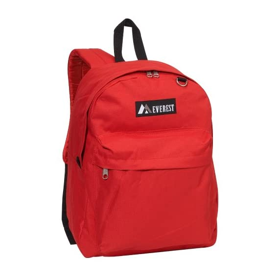 "Everest Luggage Classic Backpack 1 Dimensions 13"" x 6.5"" x 16.5"" (LxWxH) A classic backpack in a streamlined, modern silhouette ideal for school, work, travel and everyday use Spacious main compartment with double zipper closure"