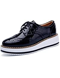 a9d5ffbc71e6 Women s Platform Lace-Up Wingtips Square Toe Oxfords Shoe