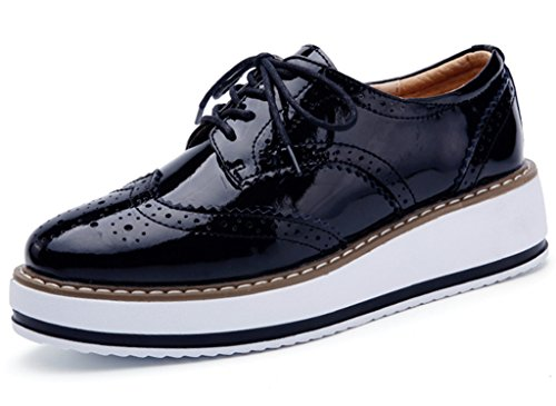Lace Up Wingtip (DADAWEN Women's Platform Lace-Up Wingtips Square Toe Oxfords Shoe Black US Size 9/Asia Size 41/25.5cm)