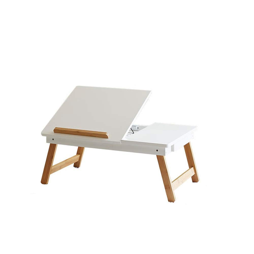 KIMIBen Laptop Table, Bamboo Laptop Bed Tray (Green, Gray, White) Multi-Position Adjustable Surface Storage Drawer (Color : White, Size : 593423cm)