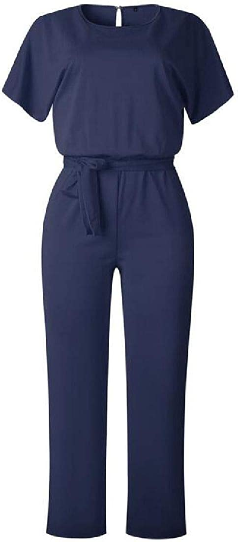 Fubotevic Womens Casual Belted Loose Fit Short Sleeve Wide Leg Palazzo Rompers Jumpsuit