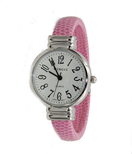 (Women's Classic Snake Style Easy Read Bangle cuff Watch-Pink)