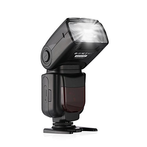 Powerextra DF-801 HSS 1/8000s E-TTL/E-TTL II Master Slave Speedlite Flash for Canon EOS Rebel T3i T2i 1300D 70D 80D 7D 7D mark II 5D mark II III IV and others Canon DSLR with Single-contact Hotshoe