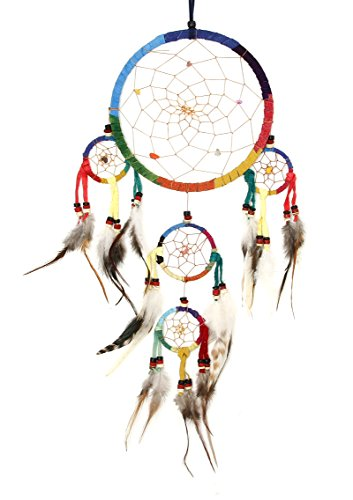 Large Colorful and Funky Dreamcatcher Hanging Windchimes - Rainbow Colors