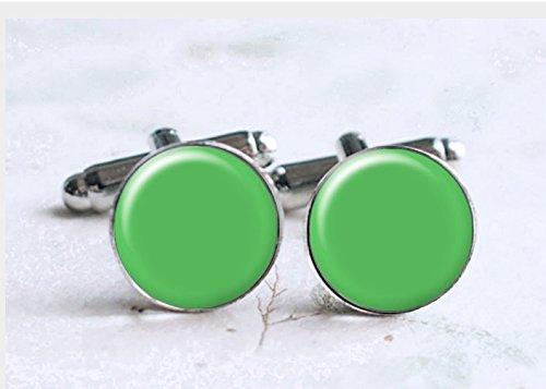 Mint Green Cufflinks,Green Light Cufflinks,Wedding Cuff Links,Handmade Cufflinks,Glass Round Silver Cufflinks,Charm Jewelry,Shirt Cufflinks,Vintage Style, (Cufflinks Mint)