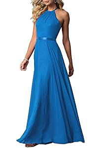Halter Bridesmaid Dress 2018 Long Chiffon Women Formal Backless Simple Prom Party Gown