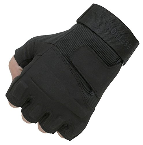 Seibertron Adult Or Youth S.O.L.A.G Special Operations/Ops Light Assault Fingerless/Half Finger Tactical Gloves Black S