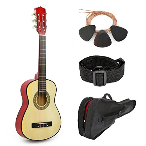 30'' Natural Wood Guitar With Case for Kids / Boys / Beginners by Master Play
