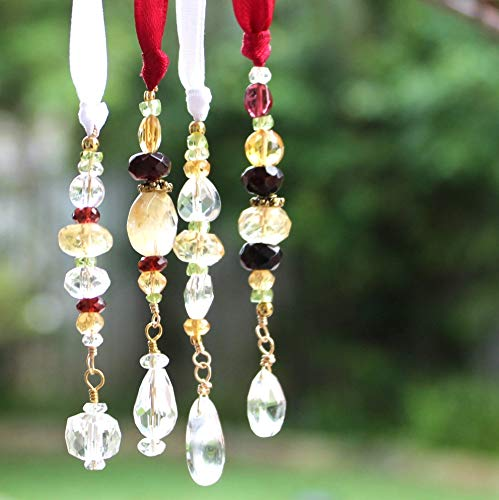 Christmas Holiday Ornaments Gemstone Tree Red Yellow White Gold Tone Beaded Crystal -