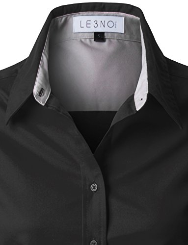 e4ac5f57f85 LE3NO Premium Womens Easy Care Long Sleeve Button Down Work Shirt at Amazon  Women s Clothing store