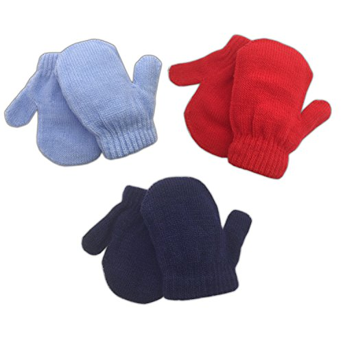 3 Pack Infant Baby Boys Mittens Warm Knitted for Winter (Mix - Blue, Pink, Purple)