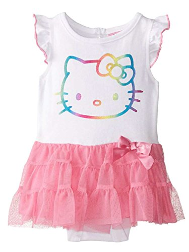 Hello Kitty Tutu Outfit (Hello Kitty Infant Girls White & Pink Tulle Tutu Romper Creeper Outfit 3-6m)
