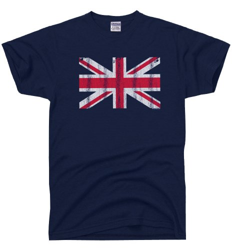 DirtyRagz Men's Great Britain Flag England British Union Jack T-shirt XL Navy - Shipping Flat Uk To Rate