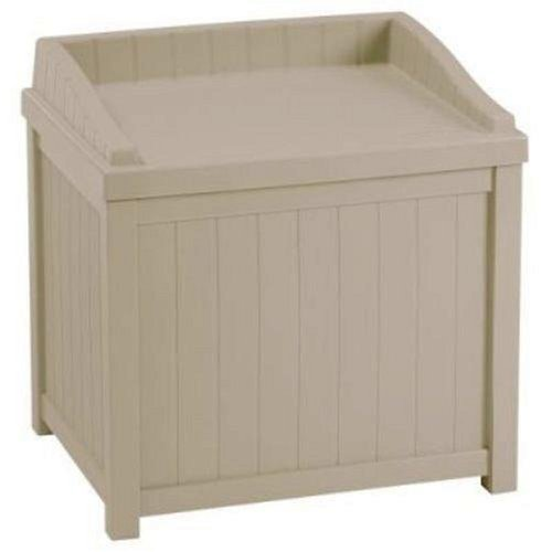 Suncast Resin Winter Storage Seat Contemporary Bin Stores Ice Melt, Sand, Salt and Snow De-Icers, Taupe by Suncast