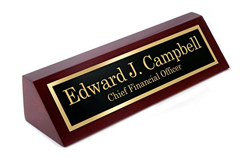 (Personalized Rosewood Finish Business Desk Executive Name Plate - Desk Office | 10 1/2