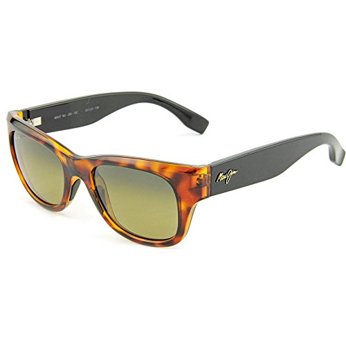 Maui Jim Kahoma Polarized Sunglasses Tortoise with Gloss Black Temples / HCL Bronze One - Wayfarer Jim Maui