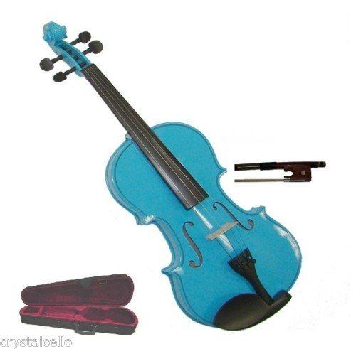 Merano MV300BL 4/4 Full Size Blue Student Violin with Case and Bow+Extra Set of Strings, Extra Bridge, Rosin, Pitch Pipe, Shoulder Rest