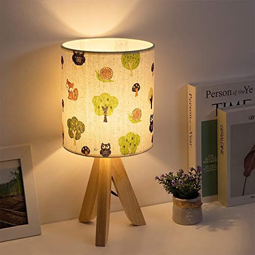 HAITRAL Tripod Table Lamp - Modern Bedside Lamp with Fabric Shade, Nightstand Desk Lamp for Bedroom, Living Room, Baby Room, Bookcase, Office(HT-BTL20-PGS)
