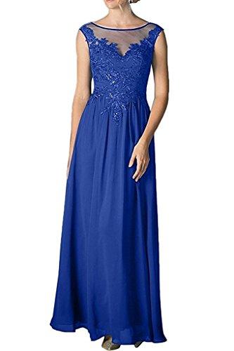 Marie Chiffon Applikation La mit Brautmutterkleider Gold Ballkleider Royal Braut Langes Damen Blau Abendkleider Spitze gSdqIdP