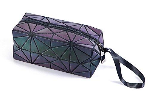 Luminous Handbag Lattice Design Geometric Bag Unique Purses Soft PU Leather Wristlet Clutch Cell Phone Purse