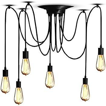 Veesee Vintage DIY 6 Arms Industrial Ceiling Spider Lamp Light,Retro E26  Edison Bulb Chandelier Lights,6 Head Adjustable Modern Chic Pendant Lights  Lighting ...