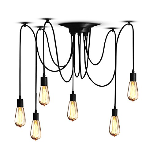 Veesee 6 Arms Industrial Ceiling Spider Lamp Fixture, Home DIY E26 Edison Bulb Chandelier Lighting, Metal Hanging Pendant Lights, Retro Chic Drop-Light for Bedrooms Dining Kitchen Island Living Room