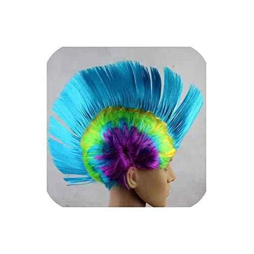 Punk Wig Props Dress Performance Funny Fluffy Cocks Comb Hair Hats Halloween Hat Dance Bar Wedding Party,5 Sky Blue A