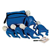 CPR Prompt (5 Pack) BLUE Infant Manikins w/50 Lung Bags, Nylon Carry Case & T...