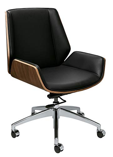 Manhattan Mid Century Eames Style Office Chair with Vegan Leather and Wood (Mid Back, Black)
