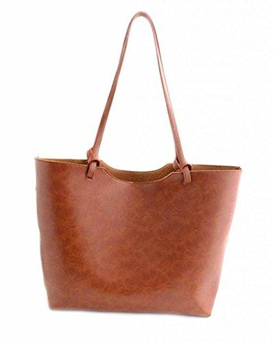 New Women Handbag Shoulder Bags Tote Purse PU Leather Women Messenger Hobo Bag-Brown