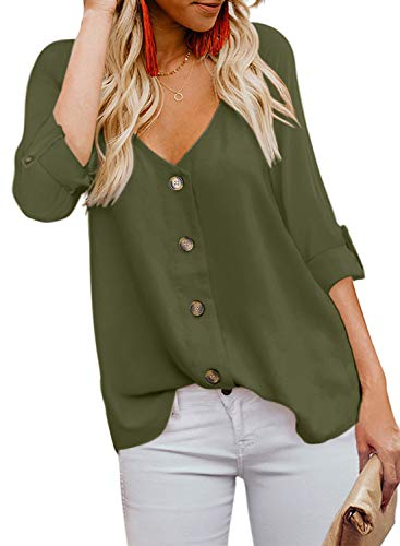 BLENCOT Womens Fashion Ladies Sexy V Neck Long Sleeve Tops Solid Flowy Blouses Shirts Green -
