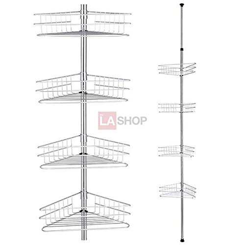 4-Tier Chrome Tension Bathroom Toilet Corner Shelf Bath Shower Caddy Pole Storage Rack Spa Tower Organizer ()
