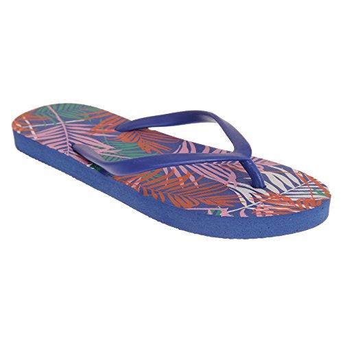 de para Sandalias con Mujer Diseño Sand Rocks Azul helechos Y7FqFI