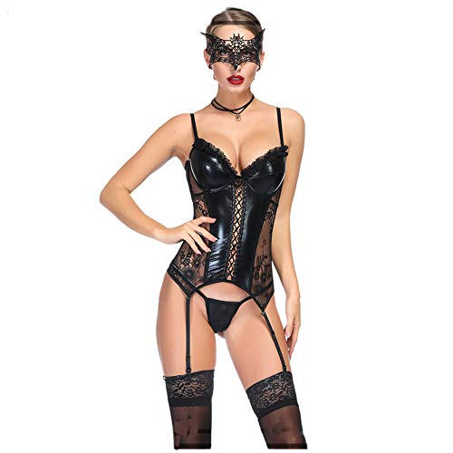 (Sijux Patent Leather Lace Lingerie Bodysuit Teddy Babydoll Ladies Transparent Sleepwear Leotard Teddies Pole Dance,S)