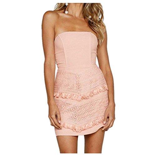 Mr.Macy Lace Dress, Women Ladies Sexy Lace Patchwork Off Shoulder Mini Dress Pencil Dress (L, - Macys Hilo