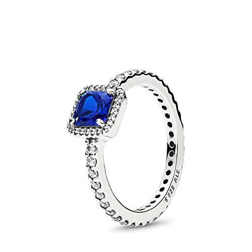PANDORA Timeless Elegance Ring, Sterling Silver, True Blue Crystal, Clear Cubic Zirconia, Size 7 (Best Deals On Your Birthday)