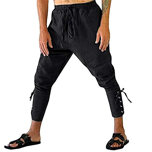 Hanwe Men's Medieval Renaissance Pirate Pants Ankle Banded Viking Trousers Cosplay Costume Black L -