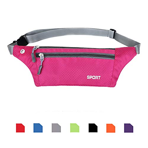 Ausion Running Belt Fanny Packs, UltraSlim Adjustable Elastic Sport Travel Waist Pack Hands Free Holds Cell Phones Including iPhone X 8 7 6 6s Plus Galaxy S9 S6 S7 Edge S8 Plus Note 8, ETC, Blue ()