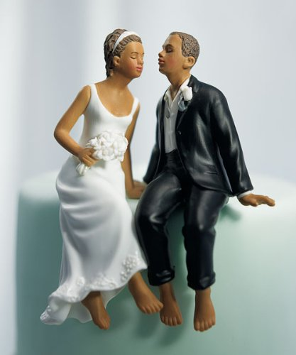 Just One Kiss Whimsical Wedding Cake Topper, Non-caucasian Couple (Wedding American Cake African Topper)