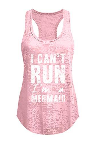 Tough Cookie's Women's I Can't Run, I'm A Mermaid Burnout Tank Top (X-Large - LF, Blush ()