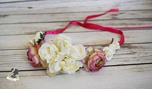 Handcrafted Hot Pink and Ivory Flower Crown - Peony Flower Crown - Adult Flower Crown - Woodland Halo - Pink and Ivory Boho Flower Crown