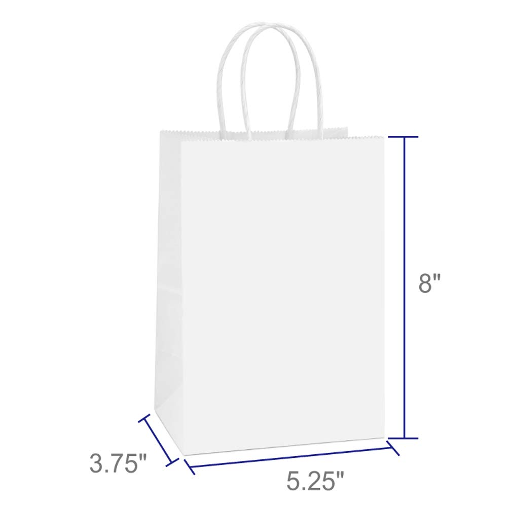 BagDream Small Kraft Paper Bags 50Pcs 5.25''x3.75''x8'', Party Bags, Shopping Bag, Kraft Bags, White Bags with Handles by BagDream (Image #2)