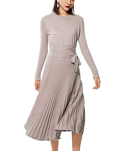 RanRui Women Sweater Dress Cashmere Dress Winter Long Sleeve Belt Fitted Waist Big Swing Midi Dresses (M, Camel)