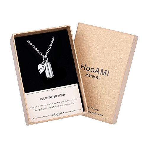 HooAMI Cremation Jewelry Pet Pew Heart Cylinder Memorial Necklace Keychain